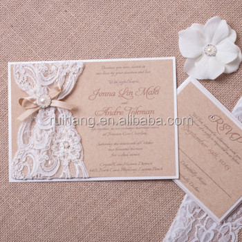 Rustic Burlap And Lace Wedding Invitation Ivory With Pearl