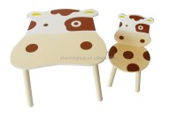 Wooden Cartoon Cowabunga Child Study Table And Chair