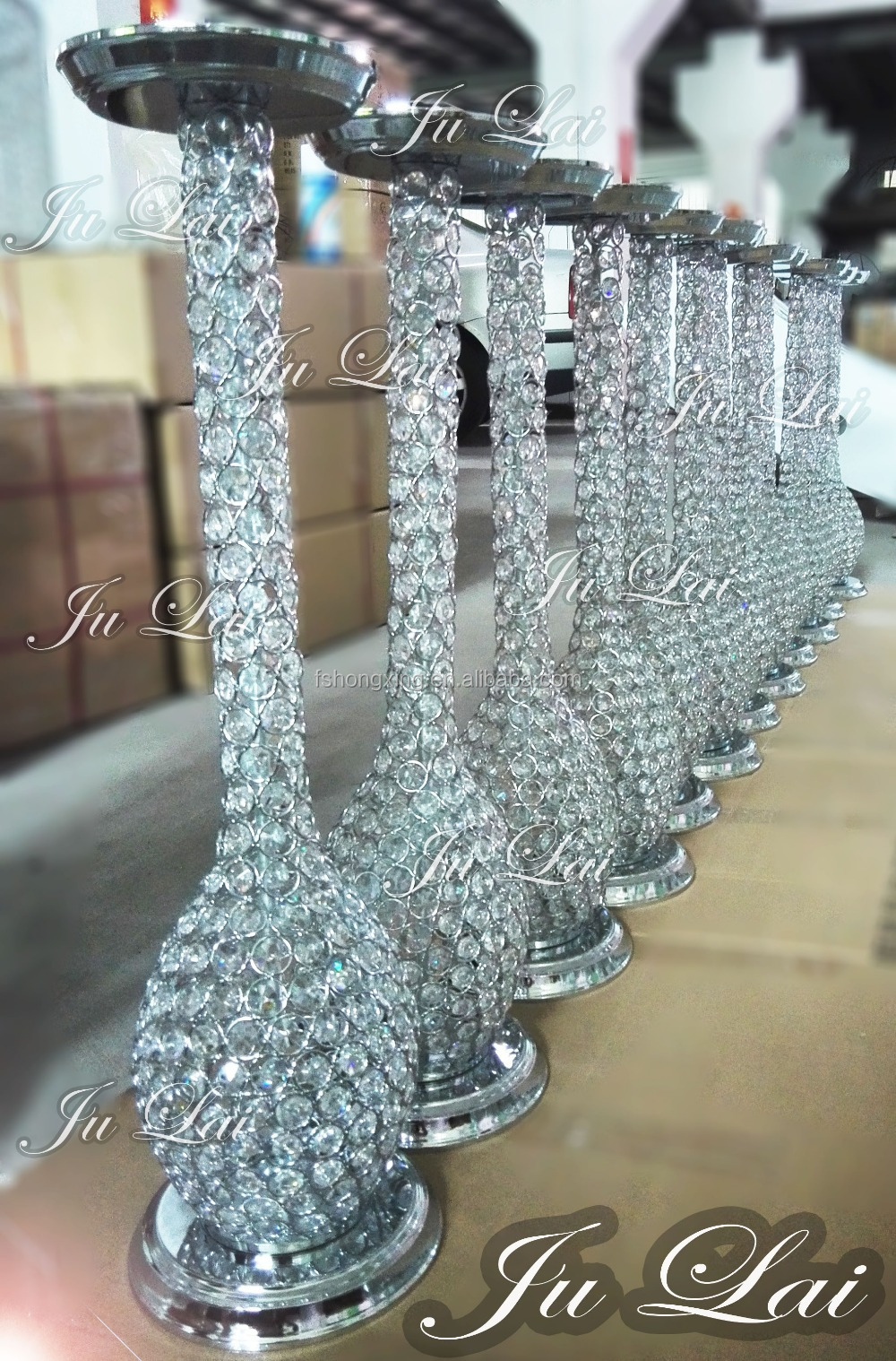 Shining Crystal Wedding Table Centerpieces Flower Stands
