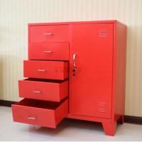Living Room Furniture Corner Red Metal Storage Cabinet ...