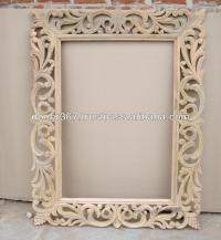 Grande de madeira entalhadas  mo moldura de espelho ...