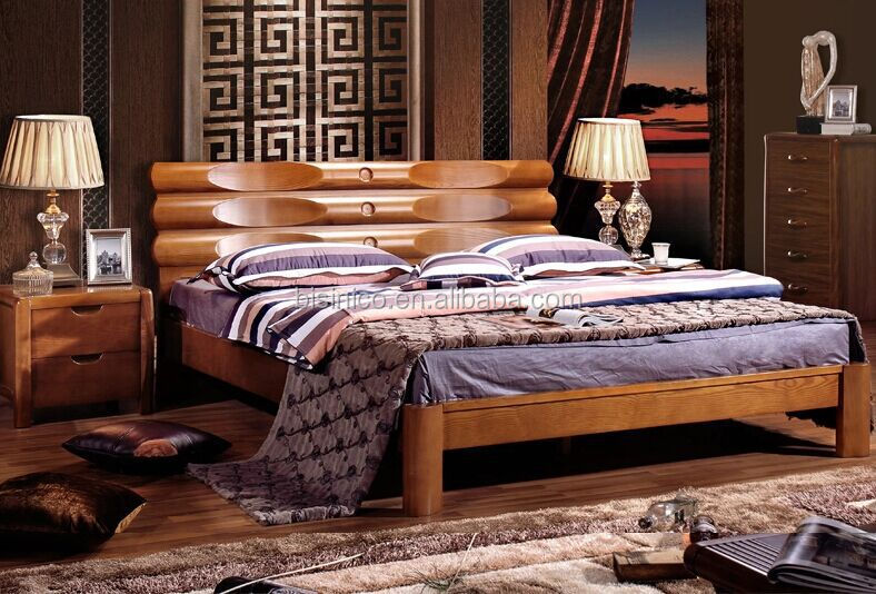 BISINI luxury wooden double bed Contemporary leather