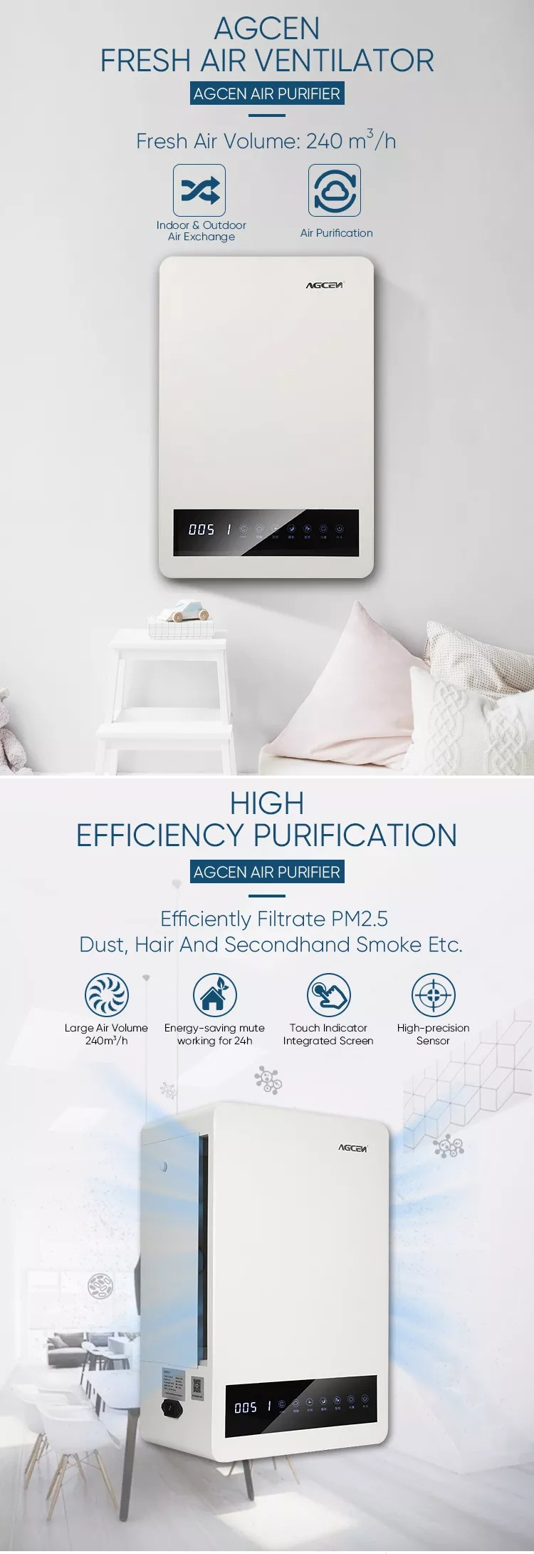 smart air cleaner wall mounted hepa