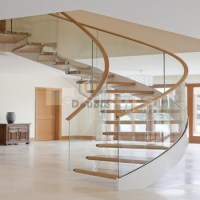 Small Space Curved Staircase Wood And Glass / Modern ...
