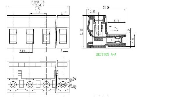 28-14awg Female Pcb Mount Board Wiring 7.5mm Screw