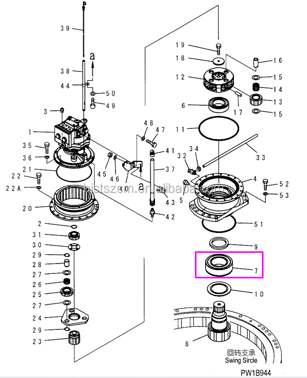 High Quality Genuine Excavator Parts Pc200-7 Swing Machine