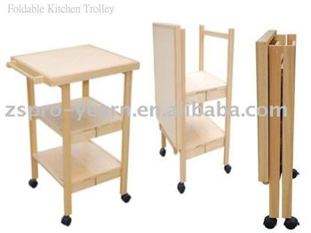 wooden kitchen cart corner hutch foldable service trolley with 3 folding tiers 4 casters for home hotel restaurant