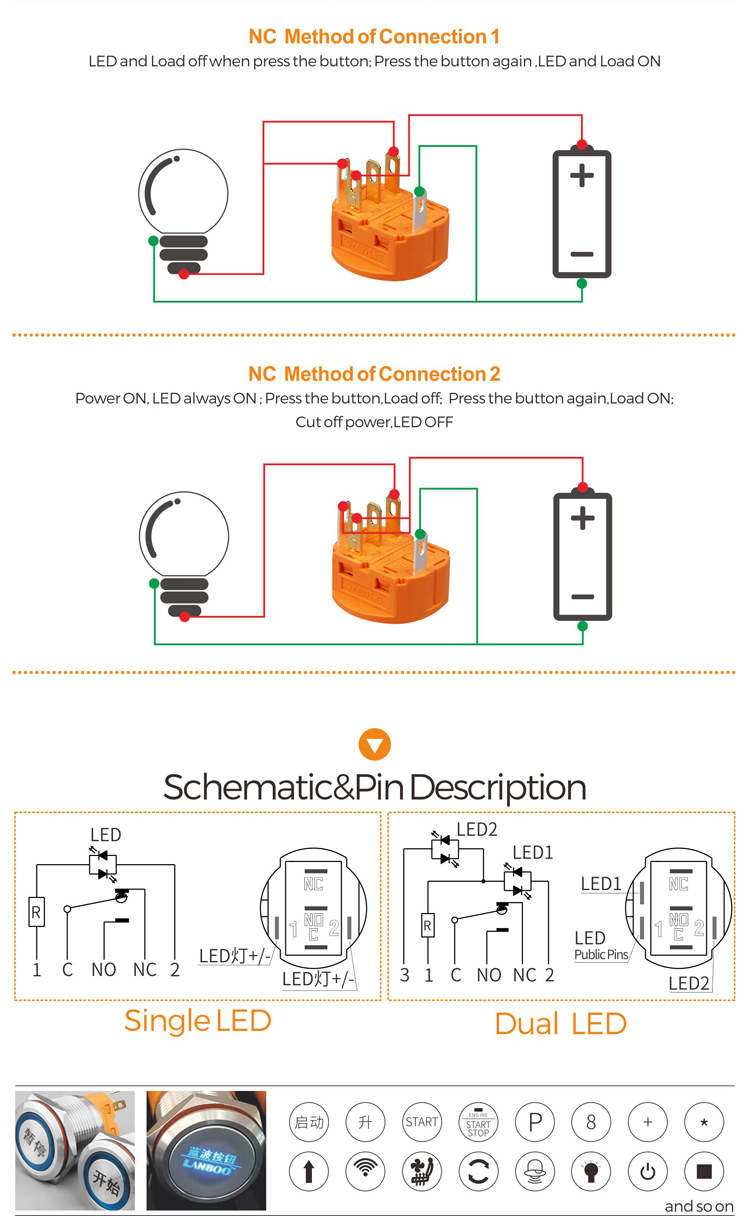 hight resolution of 28mm 30mm spst momentary lighted push button switch schematic wiring wholesale