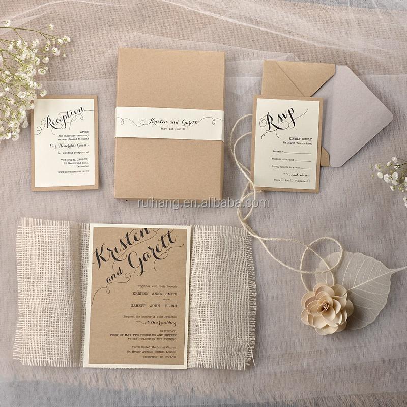 Rustic Chic Vine Burlap Theme Bridesmaid Invitations With Lace Twine Box