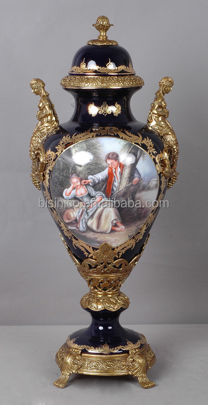 Vintage Baroque Figurine Porcelain Milk Pot With Brass