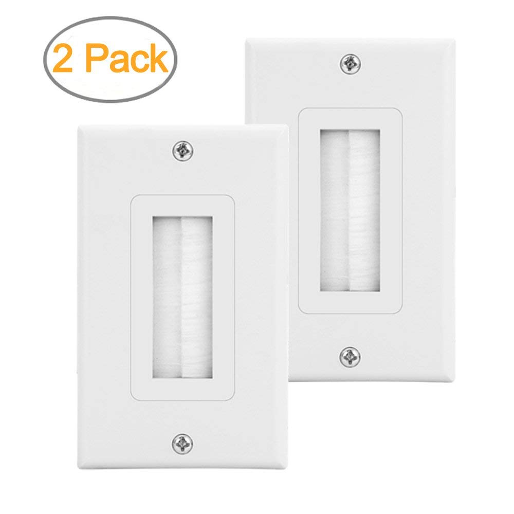 hight resolution of zexmte 2 pack single brush wall plate white wall mount panel cable pass through insert