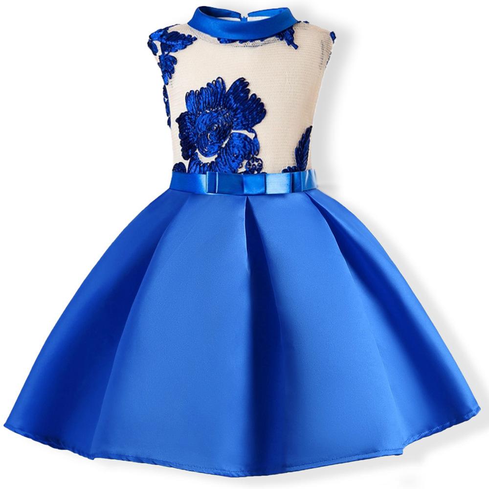 b3121078a Vestido de princesa de seda bordado de niña para fiesta de boda vestidos de  niños para niñas pequeñas ropa de Navidad de moda