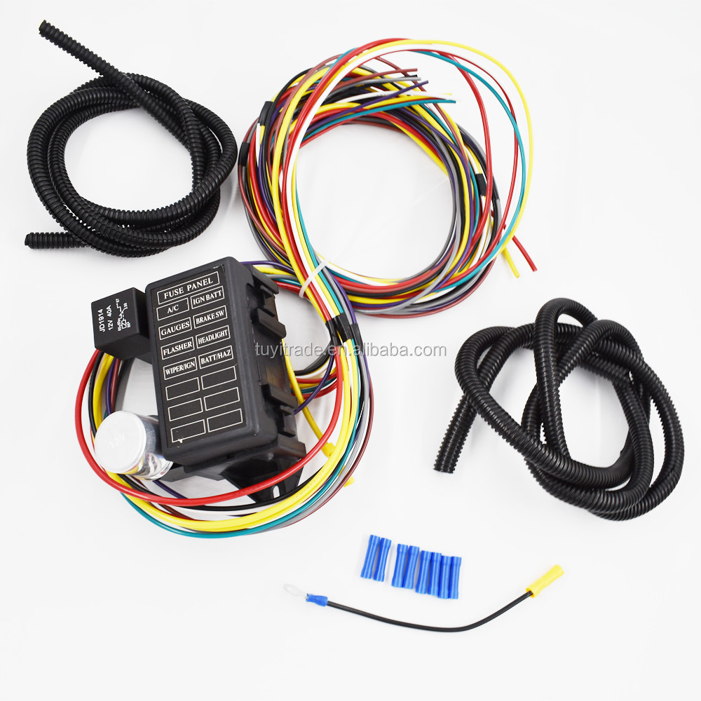 hight resolution of 8 circuit universal wire harness muscle car hot rod street rod rat 8 circuit universal wire