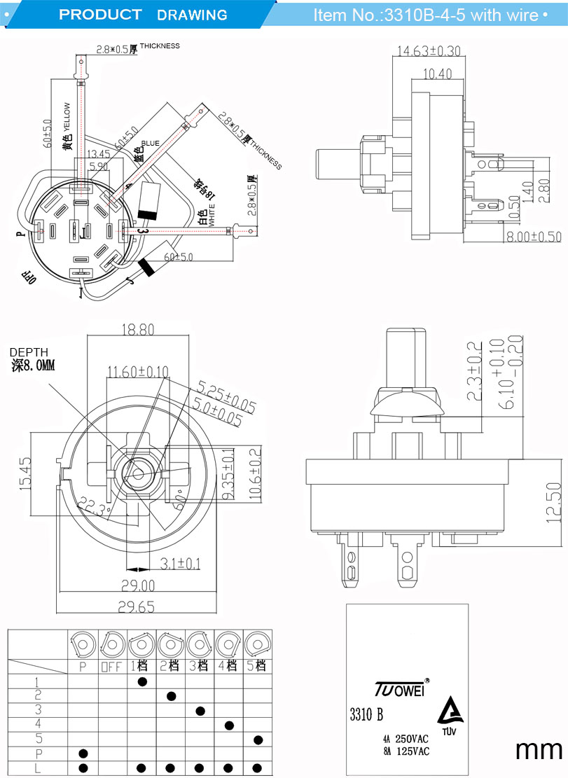8A~125VAC 4A~250VAC juicer multi position 5 speed rotary