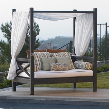 canopy daybed outdoor wicker sun sofa lounge inflatable couch asian royal style balcony furniture ratan