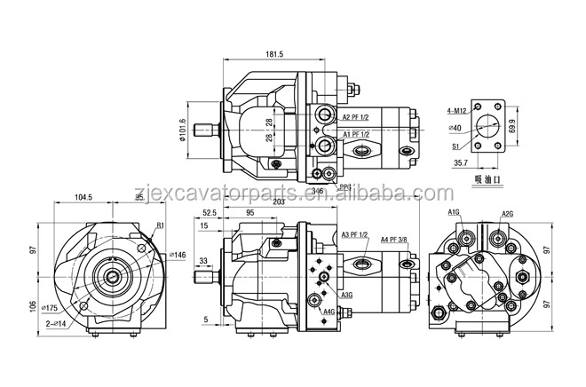 K5V200 Pelle Pompe Hydraulique, principale pompe à