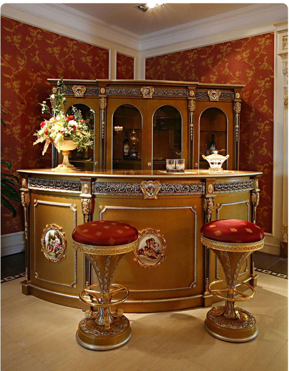 Luxury French Louis Xv Style Golden Bar Furniture