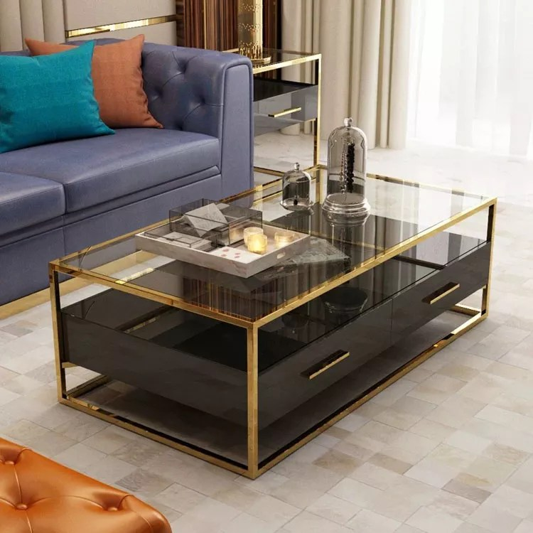 stainless steel frame glass top storage drawers living room center coffee table buy coffee table modern living room central tea table living room
