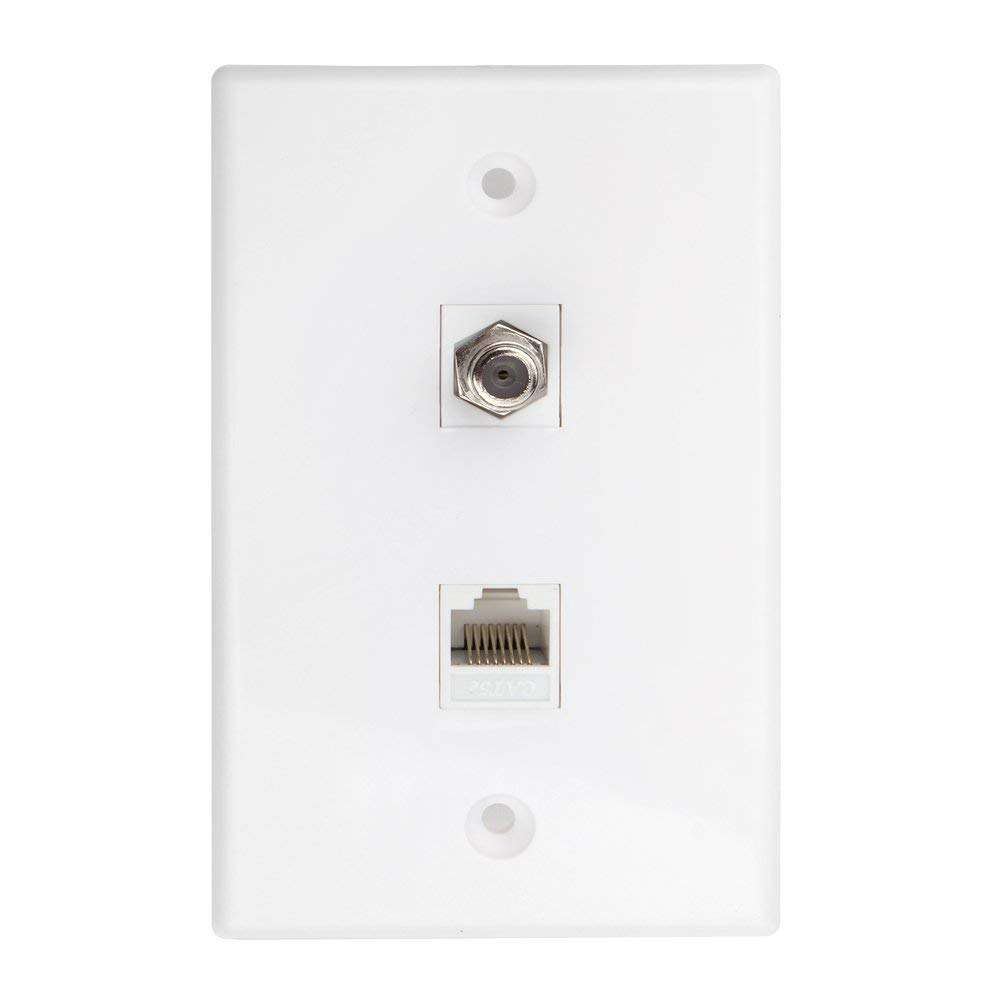hight resolution of get quotations tnp coaxial connector ethernet network wall plate dual 2 port combo video coax f connector