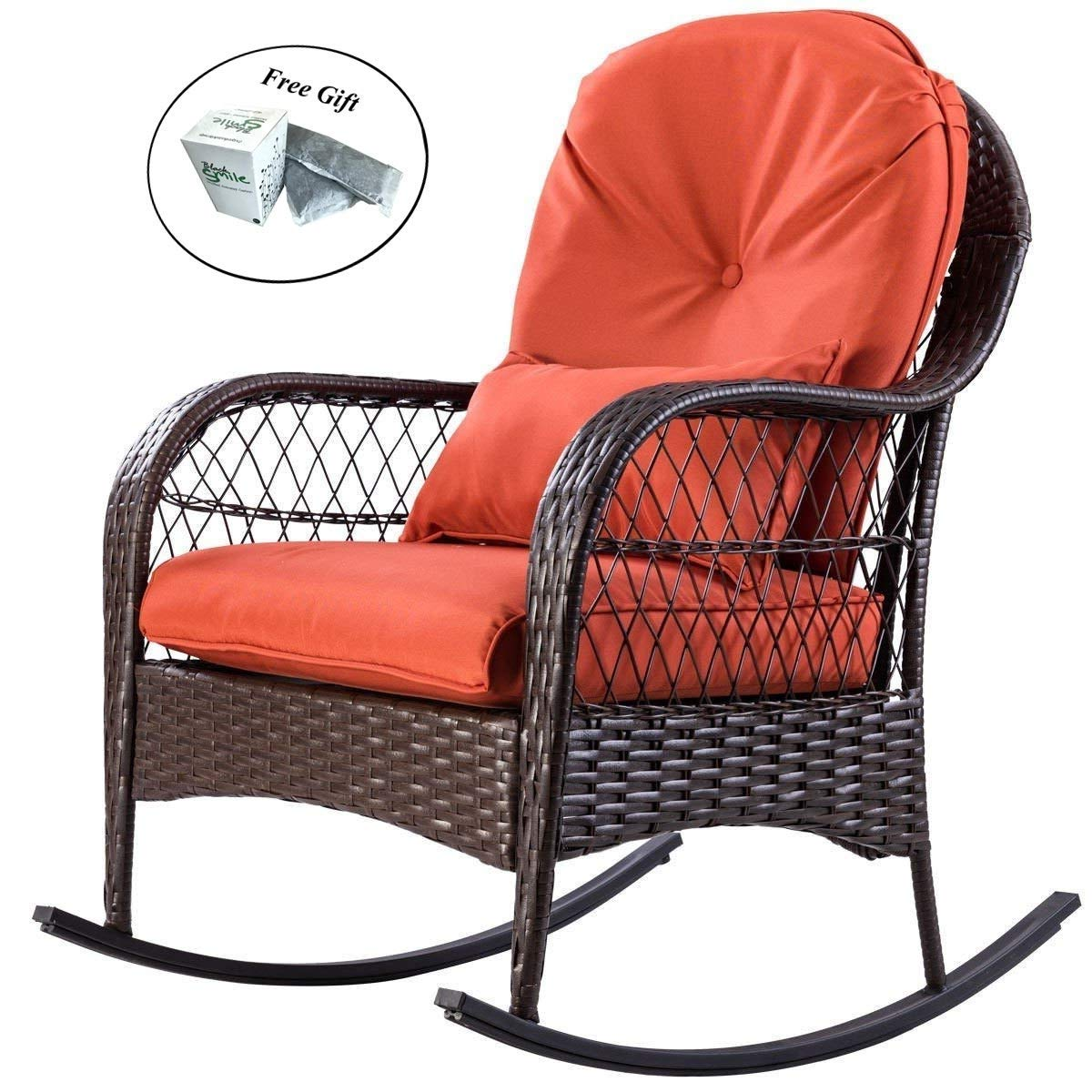rattan wicker rocking chair cushion grey dining slipcovers cheap outdoor sets find get quotations patio porch deck rocker furniture by eight24hours