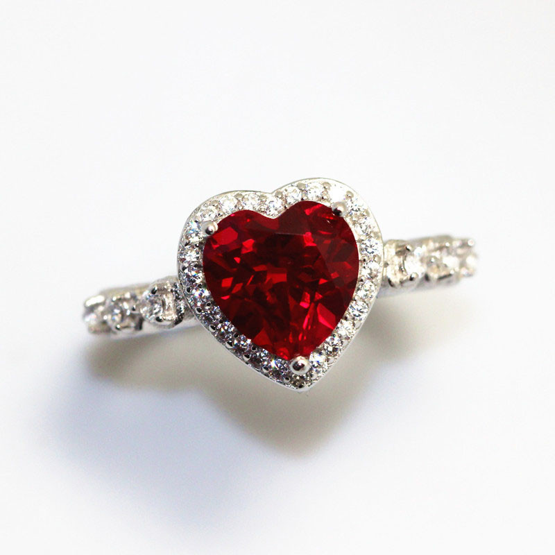 HTB1Cg4lhgnH8KJjSspcq6z3QFXal Red Ruby Heart Shape Gemstone Sterling 925 Silver Wedding Rings For Women Bridal Fine Jewelry Engagement Bague Accessories
