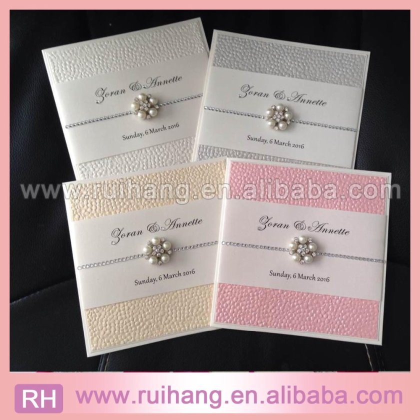 Blush Embossed Pebble Paper Wedding Invitation Pearl Card With Crystal Chains Text