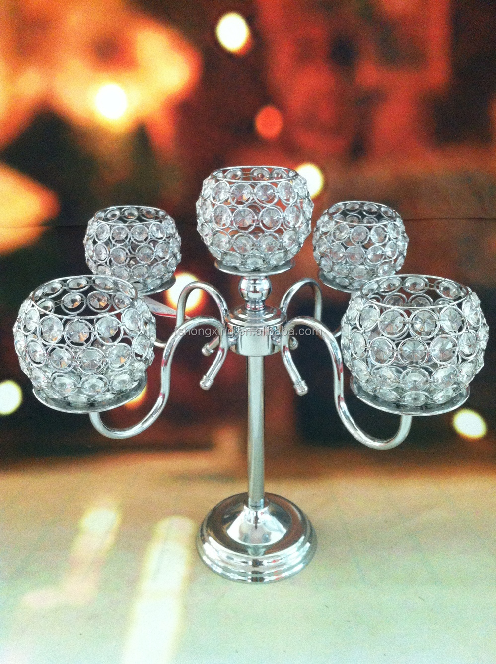 5arms Tall Wedding Crystal Globe Candelabra CenterpieceCandle Holder For Wedding Table