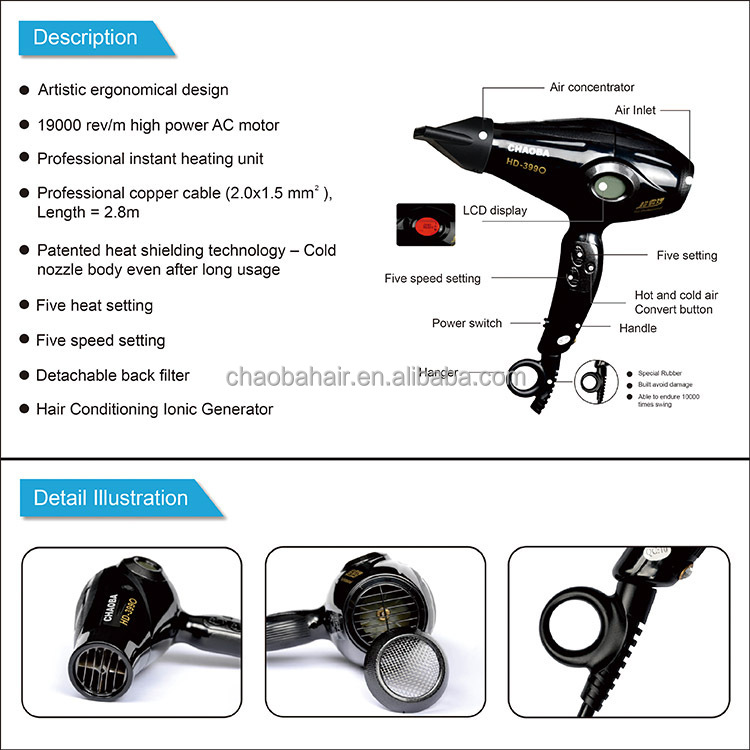 Professional Salon High Power Hair Dryer Hd-3990 2200w