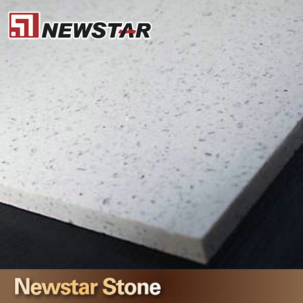 Engineered Stone Polished Flat Edge Sparkle White Quartz