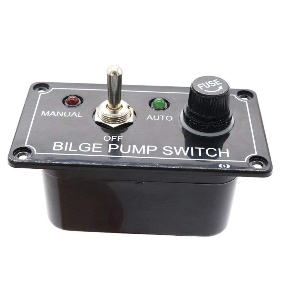 medium resolution of baoblaze black 12v marine bilge pump with fused circuit breaker rocker switch manual off