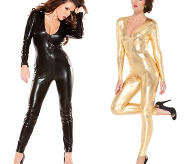 Get Quotations  C2 B7 Sexy Women Latex Jumpsuit Overall Catsuit Catwomen Costumes Spandex Erotic Fetish Catsuit Fetish Latex Faux Pvc