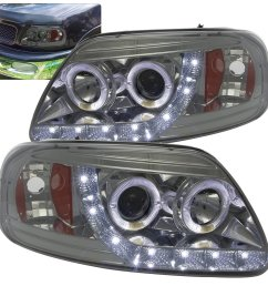 get quotations ford f 150 expedition 1 piece led halo angel eyes projector headlights chrome housing [ 1296 x 1296 Pixel ]