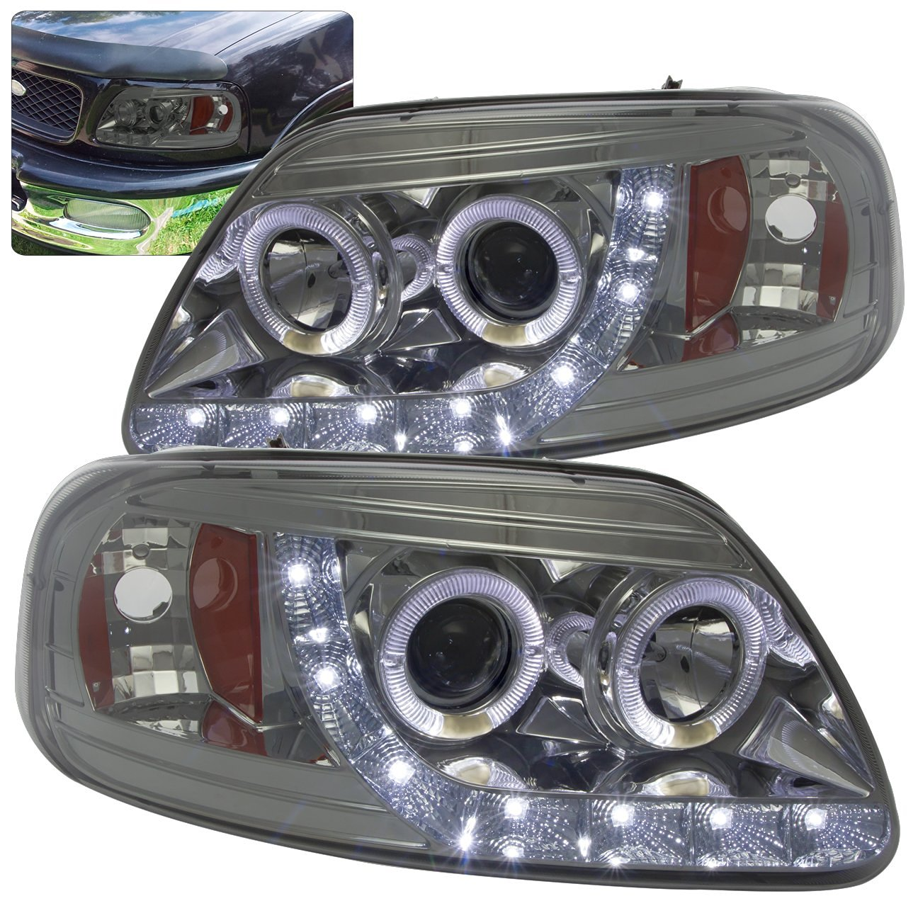 hight resolution of get quotations ford f 150 expedition 1 piece led halo angel eyes projector headlights chrome housing