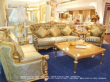 luxury living room furniture sets east indian inspired european classical sofa set wood carving gold plated
