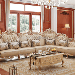 Gold Leather Sofa Set Wood Furniture In Chennai Champagne Flower Carving Genuine Buy