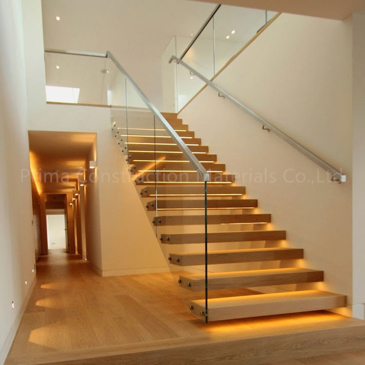 Wood Steps Straight Floating Stairs Staircase With Frameless Glass | Floating Stairs With Glass Railing | Duplex Balcony | Combination Glass | Glass Balustrade | Crystal Handrail | Innovative Glass