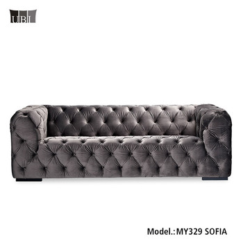 blue velvet chesterfield sofa garden furniture corner covers luxury crushed fabric sectional set
