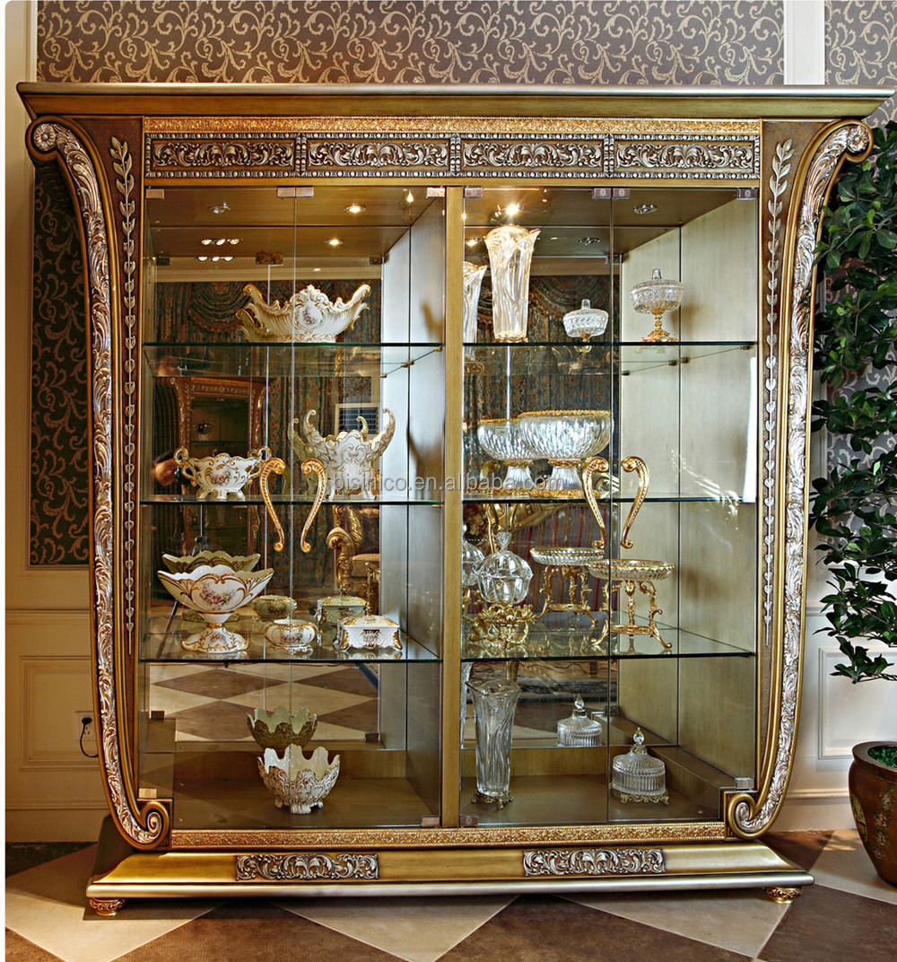 living room glass display cabinets large paintings for india luxury french baroque style golden four door cabinet gorgeous home decorative cupboard showcase