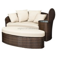 Patio Loveseat And Ottoman Sectional Round Sun Bed With ...