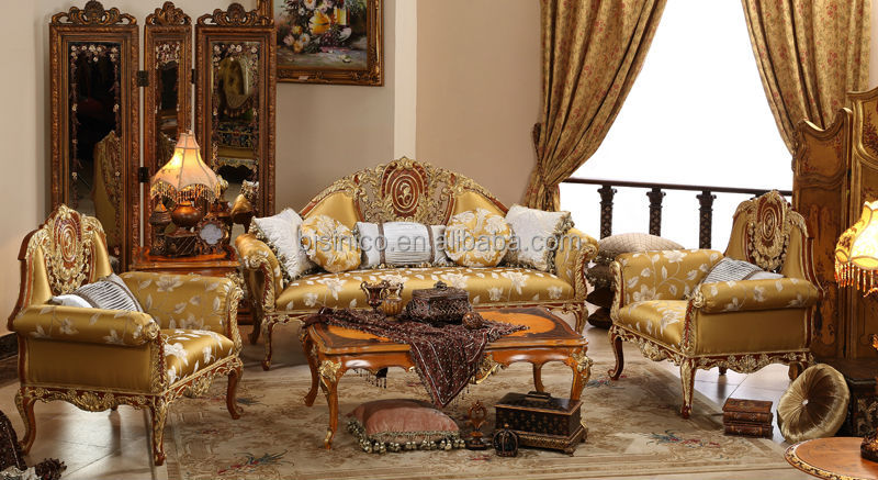 vintage living room furniture what color to paint english gold painting sofa set elegant carved wooden