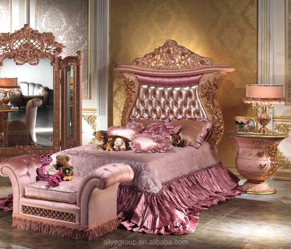 Luxury Pink Color With Gold Children Girl Bedroom