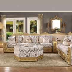Arabian Living Room Movable Tv Stand Furniture Luxury Middle East Style Golden Color Fabric Sofa Royal Family