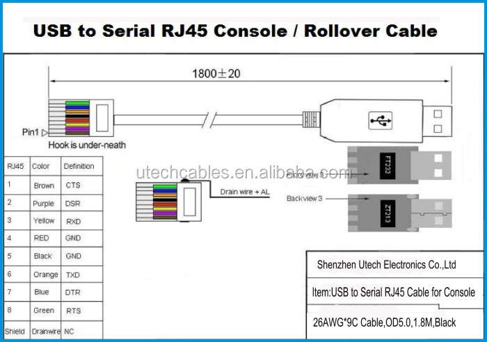 db9 wiring diagram how to wire 3 lights one switch utech ft232+zt213,usb rj45 serial console cable,usb cable - buy ...