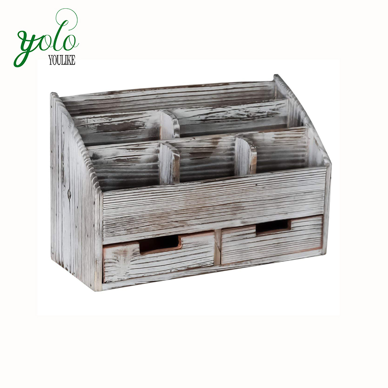Rustic Wooden Desktop File Desk Organizer Set With Two