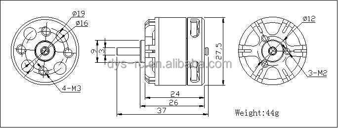 DYS Brushless Motor BE2208-1400KV 1kg pull High Torque