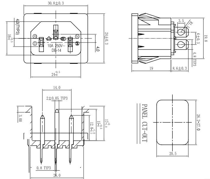3 Pins Iec Connectors & Nema Receptacles Power Socket