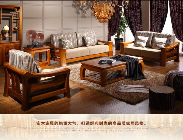 Pictures of wooden sofa sets modern design for Wood sofa designs for living room