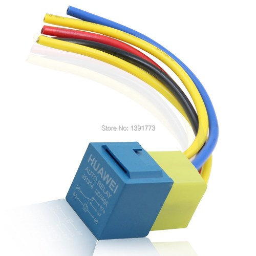 small resolution of get quotations 5pcs 12v 30a 40a car alarm auto relay with wiring harness socket holder 5 pin yellow