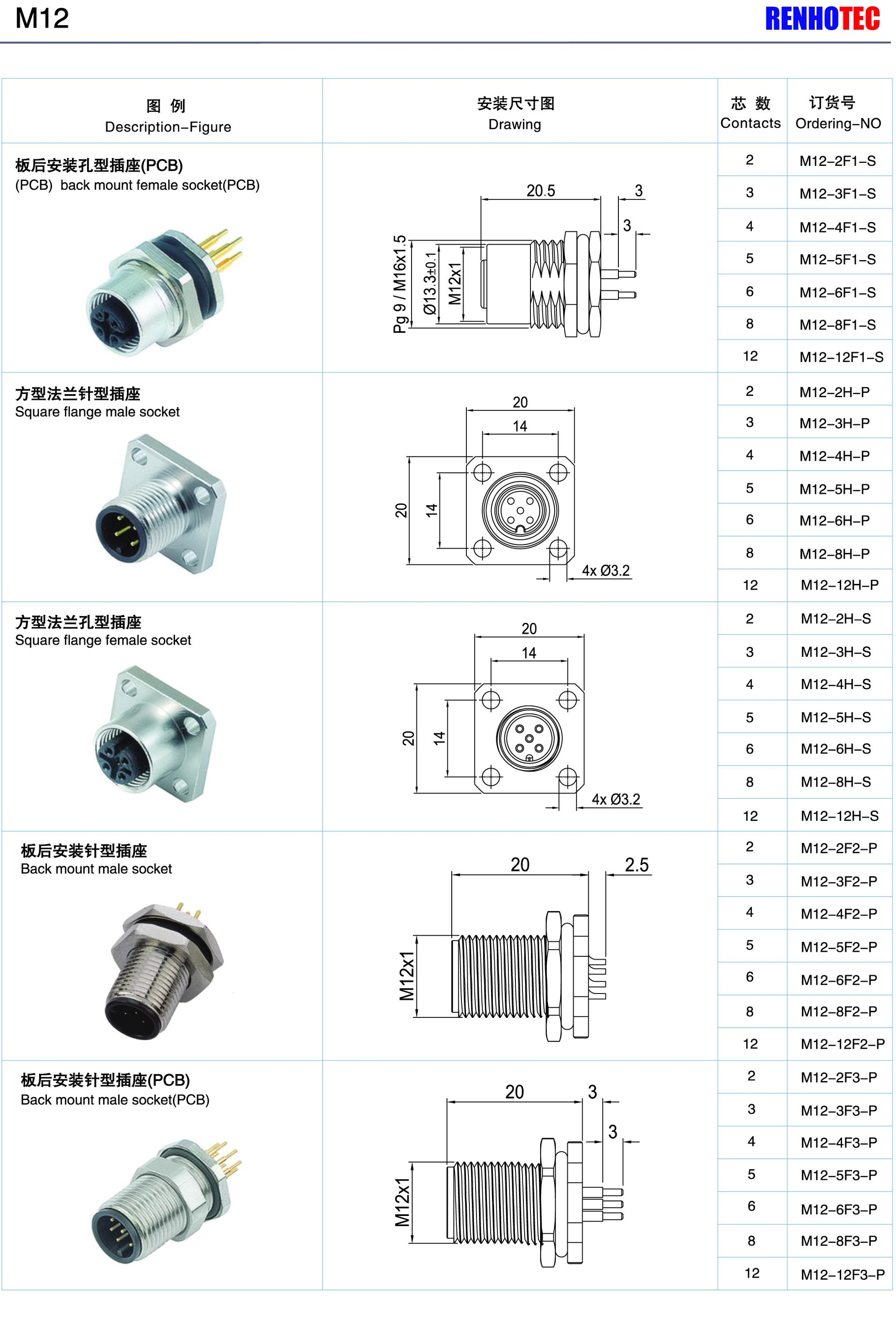Waterproof Connector Right Angle M12 4pin Female Plastic