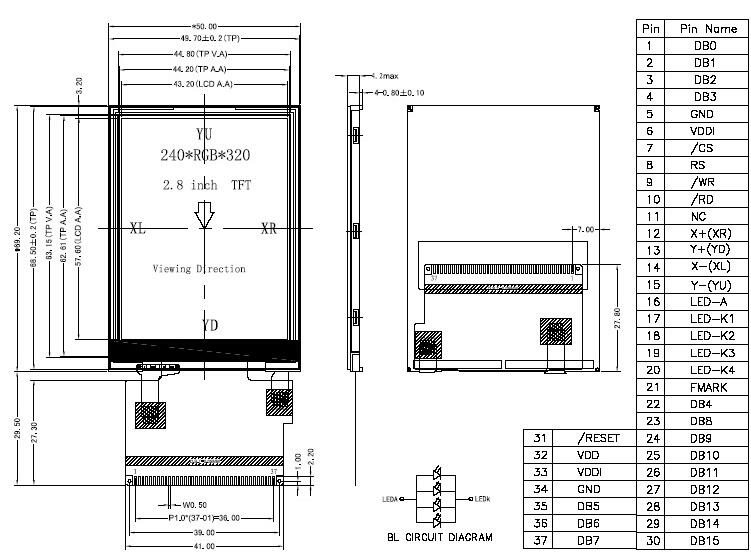 New 1.8 Inch Eight Bit Parallel 20 Pin Tft Lcd Touch